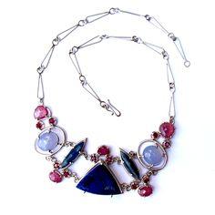 Joanna Gollberg, Prong-Set Gemstone Necklace, Sterling silver, Purple palette gemstones