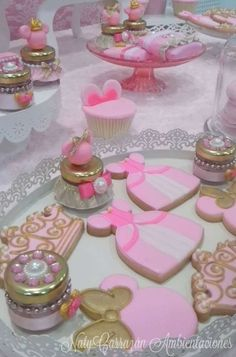 Gorgeous pink princess cookies at a Minnie Pink Princess Birthday Party. See more party ideas at CatchMyParty.com
