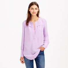 "Easily one of the most versatile pieces in your closet, thanks to the clean lines, drapey fabric and easy tunic fit. <ul><li>Body length: 30"".</li><li>Viscose.</li><li>Long sleeves.</li><li>Functional buttons at cuffs.</li><li>Popover hidden placket.</li><li>Dry clean.</li><li>Import.</li></ul>"