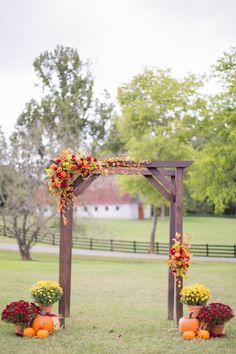 Fall wedding arbor at Fairview Farm www.faithphotography.net Fairview Farm Fall wedding…