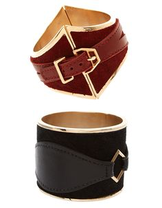 House of Harlow 1960 leather and suede cuffs