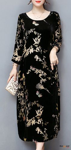 US$35.99 + Free shipping. Size: M~3XL. Material: Silk Cotton, Silk. Fall in love with elegant and casual style! Plus Size Elegant Women Gold Velvet Dress Silk Blended Retro Printing Dresses.