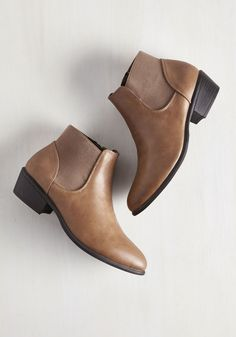 School of Walk Bootie in Fallow - Brown, Solid, Work, Minimal, Good, Ankle, Variation, Low, Faux Leather