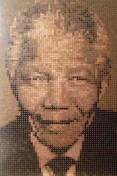 Penny mosaic portrait of Nelson Mandela, made with more than 5,000 coins.