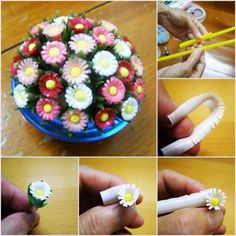 5 steps to make flowers from straw
