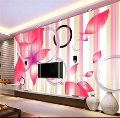 3d room wallpaper custom photo murals non-woven wall sticker living room Romantic flower circle murals wallpaper for walls 3d #Affiliate