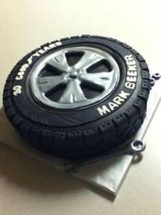 Tire Cake Aniversary cake for a manager , 30 goodyears in the company Fondant Cakes, Cupcake Cakes, Car Cakes, Corvette Cake, Aniversary Cakes, Groomsman Cake, Tire Cake, Wheel Cake, Motorcycle Cake