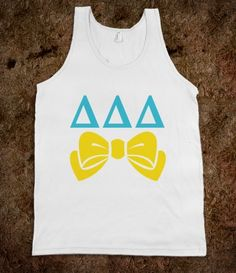 Delta Delta Delta Frat Tanks - Delta Delta Delta Bows Frat Tanks. Sorority Shirts. CLICK HERE to purchase :). Buy 1 or 100!