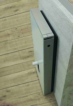 """With the new distance frame, a Geberit Monolith sanitary module for WCs can be installed without the hassle of opening up the wall – even with a """"rear centre"""" water supply connection. The decisive impetus for this solution came from a customer. Geberit Monolith, Water Supply, Filing Cabinet, Distance, Door Handles, Centre, Connection, Bathroom, Frame"""