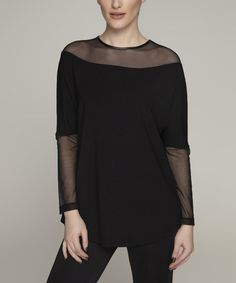 Another great find on #zulily! Black Sheer-Panel Dolman Top #zulilyfinds