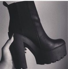 shoes boots chunky boots black boots black heels high heels platform shoes…