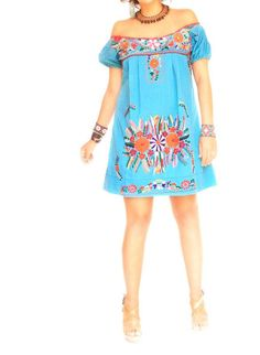 (Valyn's) Turquoise Love vintage Mexican dress boho ethnic by AidaCoronado, $130.00