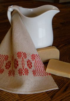 Handwoven Complexion Wash Cloth  scarlet red by ThistleRoseWeaving, $12.00