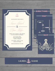 Nautical Themed Wedding Stationery Collection by The Print Cafe in Fort Collins, Colorado.