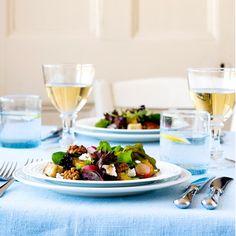 Warm spring salad with caramelised walnuts