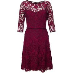 Adrianna Papell Three-quarter sleeve lace dress ($150) ❤ liked on Polyvore featuring dresses, clearance, red, lace cocktail dress, three quarter sleeve dress, fit and flare dress, sheer lace dress and 3/4 sleeve dress
