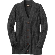 The women's Fisherman Long Cardigan Sweater looks like a classic. But - wowza! - with a smidge of cashmere mixed in wait'll you feel it.