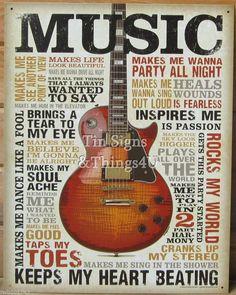 Red Fender Stratocaster guitar TIN SIGN vtg retro wall decor metal ad music 1766