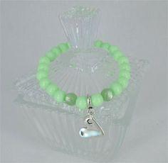 Pastel armband Pearlshine Crysolite Green met hartje bedel