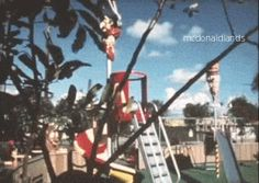 CAPTAIN CROOK'S SPIRAL SLIDE || Another great clip featuring a clear shot of the red and yellow striped slide. I created this GIF from the rare McDonaldland Promotional Video. In the 16mm 12-minute industrial film from 1972, Setmakers shows off the large line of park-like attractions they could build and install to attract customers to McDonald's using the setting of the 1971 opening for the very first Playland in Chula Vista, California.