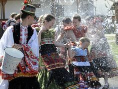 Easter sprinkling in Hungary #spring-when this was done in australia a few drops of cologne were sprinkled gently - this looks quite a robust watering!