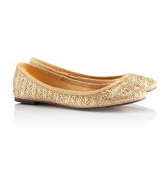 Gold braided straw ballet pumps, H and M