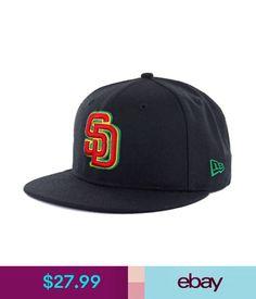 Hats Era 5950 San Diego Padres Rasta 2.0 Custom Fitted Hat (Black) Men's Mlb Cap #ebay #Fashion