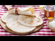 Piadina flatbread - original Italian recipe - YouTube-Wheat flour, lard or oil or butter, milk or water, salt, baking soda. #LEAP friendly if not GF.