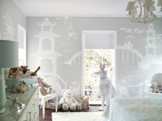 Neutral colors baby nursery - while still engaging the imagination for brain development. Love.