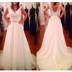 A-line Wedding Dresses, V-Neck Sleeveless Backless Low Zipper