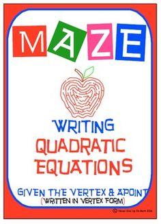 Maze - Quadratic Functions - Writing Quad Function given v