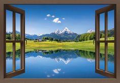 canadastock: Fensterblick - Panoramasicht auf eine idyllische Sommer Landschaft in den Alpen und Bergsee