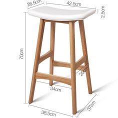 Set of 2 Oak Wood Bar Stools – White - wood bar White Wood Bar Stools, Wood Bar Top, Wood Bar Table, Wooden Bar Stools, Leather Bar Stools, Types Of Furniture, Metal Furniture, Outdoor Furniture, Outdoor Wood Bar
