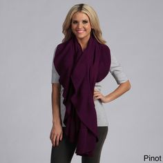 @Overstock.com - Cashmere Showroom Women's Ruffle Cashmere/Bamboo Shawl - Add a warm and feminine touch to your wardrobe this winter with this lovely womens ruffle cashmere shawl by Cashmere Showroom. This shawl is made of Rayon from bamboo and cashmere, features a pretty ruffle, and comes in a choice of four colors.  http://www.overstock.com/Clothing-Shoes/Cashmere-Showroom-Womens-Ruffle-Cashmere-Bamboo-Shawl/5570926/product.html?CID=214117 $62.99