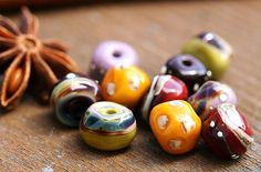 Handmade lampwork glass beads  SRA  Autumn colors by by MayaHoney, $18.50