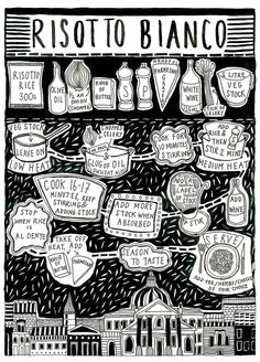 risotto bianco illustrated recipe by Alice Dansey Wright #art #illustrations #black_and_white #food #recipe #cooking