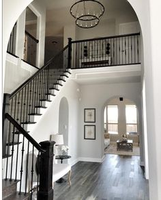 Railing for above stairs. Wall paint color throughout the house: Repose Gray by Sherwin Williams. Trim color throughout house: Sherwin Williams pure white Style At Home, Casa Clean, Repose Gray, Wall Paint Colors, Gray Paint, Grey Flooring, My Dream Home, House Colors, Home Remodeling