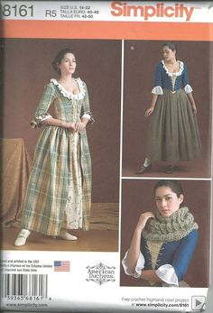 SIMPLICITY 8161/8162 Misses 18th Century Scots Outlander Costume Sewing Pattern #Simplicity