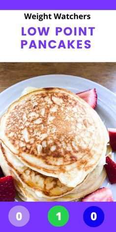 Skinny 1 Point WW pancakes with no bananas! Smart Points for each myWW plan included. Weight Watcher Dinners, Plan Weight Watchers, Petit Déjeuner Weight Watcher, Pancakes Weight Watchers, Dessert Weight Watchers, Weigh Watchers, Weight Watchers Breakfast, Weight Watchers Smart Points, Ww Recipes