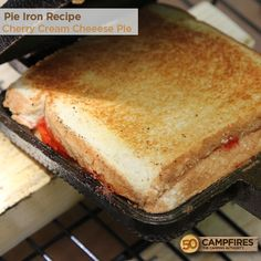 Pie Iron Recipe - Cherry Cream Cheese Pie - so freakin' good! #camping #pieiron