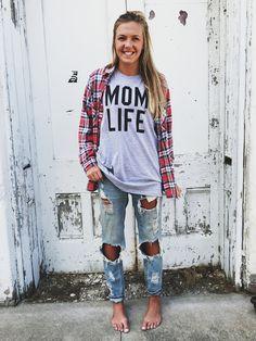 Mom Life Statement Tee- Heather Grey