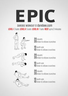 No-equipment bodyweight workout for all fitness levels. Visual guide: print & use. Insanity Workout, Best Cardio Workout, At Home Workout Plan, Gym Workouts, At Home Workouts, Workout Plans, Workout Fitness, Workout Routines, Workout Ideas