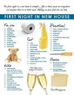 Family's first night in new house checklist. The first night in a new house after a move is stressful. Making an open-first box can help. How to buy a home, buying a home Buying First Home, Home Buying Tips, Home Buying Process, First Time Home Buyers, Moving House Tips, Moving Day, Moving Tips, Moving Hacks, First Home Checklist