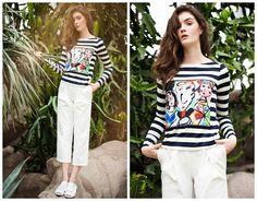 women stripe toplong sleeve tshirtstripe by HerselfStudios on Etsy