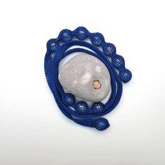 knitted necklace indigo blue Zagora by hogenbirk knitwear