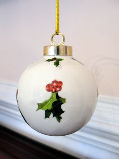Cardinal Bird Porcelain Ornament Christmas by EllensClayCreations