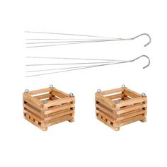 6 in. Wooden Square Hanging Baskets (2-Pack), Natural Wood