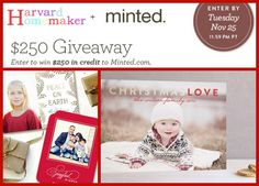 Win $250 to Spend at Minted – My Favorite Card Site! Don't miss out on this amazing giveaway!! Expires 11/25, so enter before you forget! It just takes a second to enter! #giveaway #holidaycards #harvardhomemaker