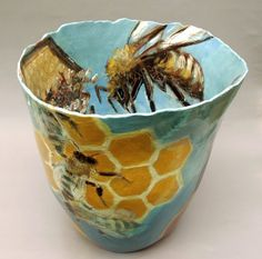 ICF, Jutka Palmer, BEEKEEPER earthenware vessels, painted with slips and oxides
