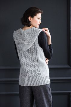 Ravelry: Hooded Cable Vest pattern by Yoko Hatta (風工房) Cable Knitting Patterns, Crochet Vest Pattern, Vogue Knitting, Hooded Vest, Crochet Designs, Sweaters For Women, Couture, Crochet Mandala, Early Fall